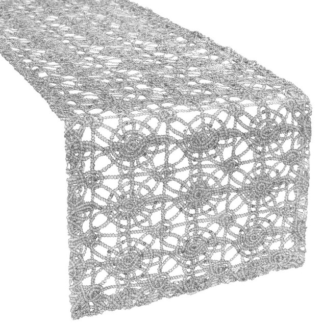 Silver Sequin Chemical Lace Table Runner $6.00