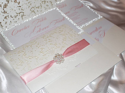 Sweet Elegance Tri-Fold Invitation Suite with Ribbon and Brooch