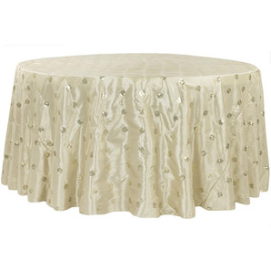 Gold Sequin Embroidery Taffeta Round Table Cloth $15.50