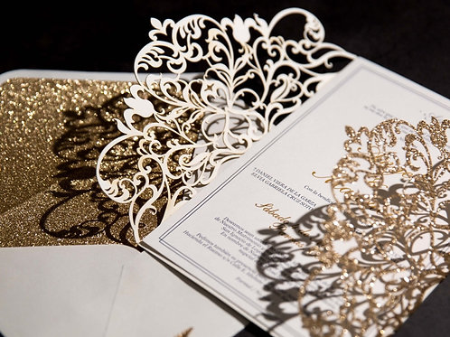 Exquisite Lace Glitter Panel Pocket Invitation Suite