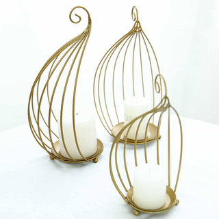 Gold Birdcage Candle Holders $15 Per Set