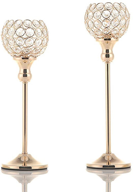 Gold Crystal Glam Candle Holders (12 Available)