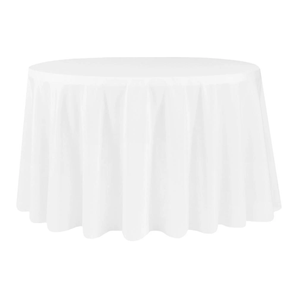 White Polyester Round Tablecloth $8.50