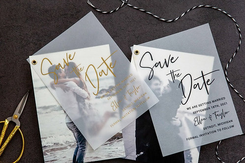 Foil Vellum Photo Layered Save the Dates