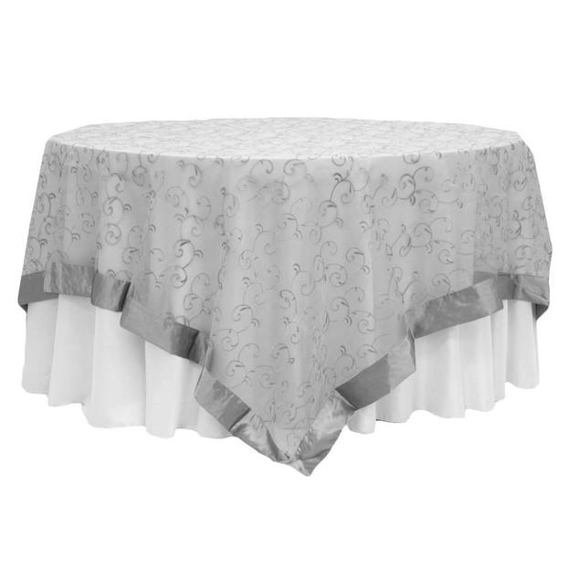 Silver Satin Trim Swirl Table Overlay $12.50