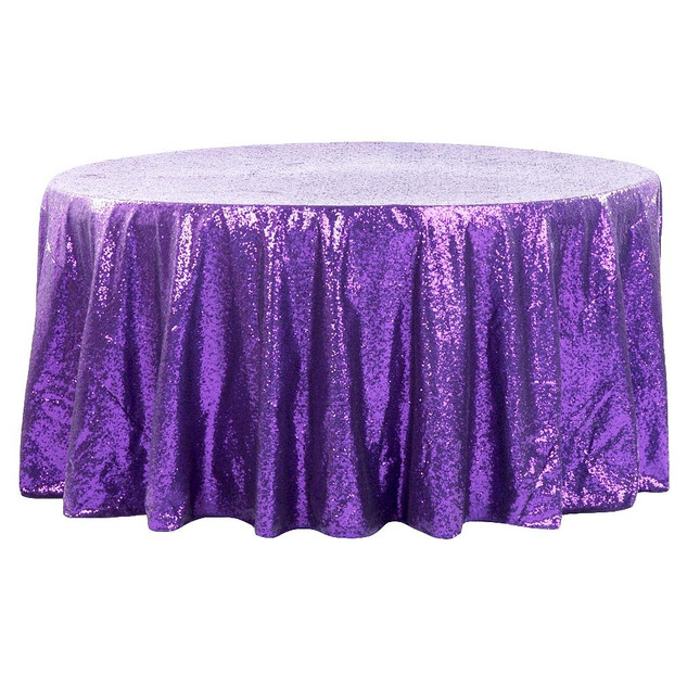 Purple Sequin Round Table Cloth