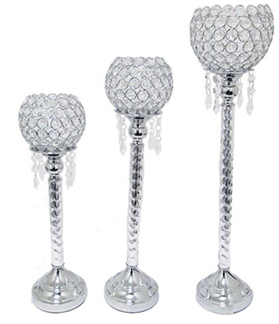 Silver Crystal Glam Candle Holder (9 Available)