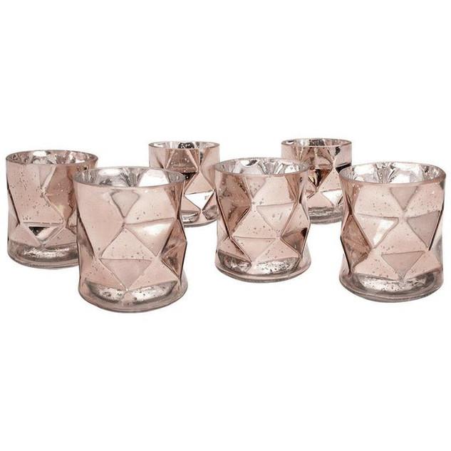 Rose Gold Modern Geometric Mini Vases