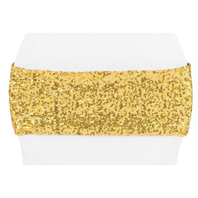Gold Sequin Spandex Chair Sashes $.75 Each