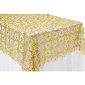 Gold Chemical Lace Table Overlay $12.50