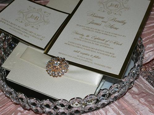 Signature Panel Pocket Invitation with Ribbon and Brooch