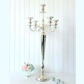 Tall 4.5ft 5-Arm Silver Glass Candelabra $35