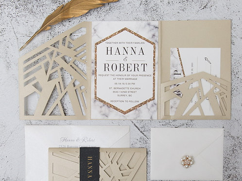 Geometric Tri-Fold Pocket Invitation Suite