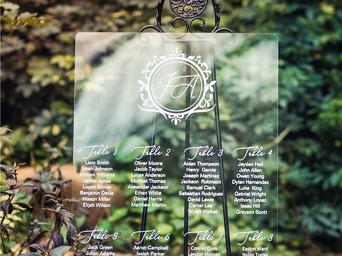 18x24 Acrylic Glass Seating Chart and Design