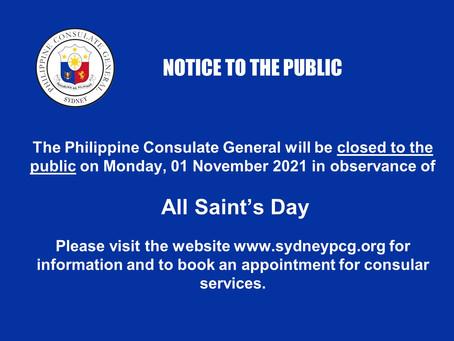 All Saints Day, 01 Nov. 2021