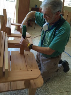 Team member Keith Greene, of St. Simons on the Sound, Ft. Walton Beach, FL is working on the new clergy chairs for Iglesia Santo Tomas.