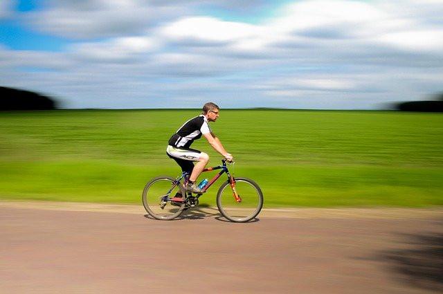 A cyclist exercising