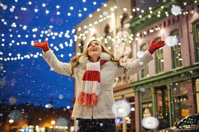 Happy woman at Christmas, Sam Nash,