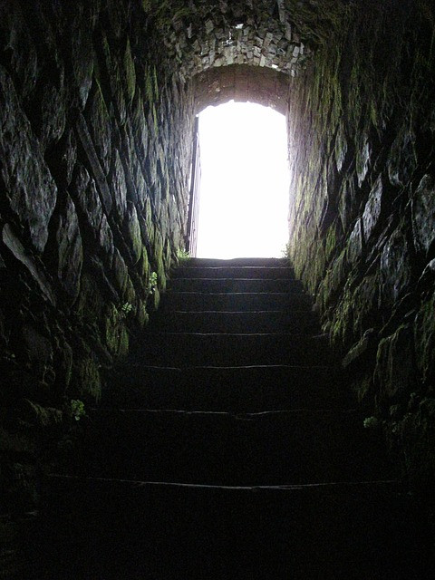 Example tunnel with modern steps for visitors
