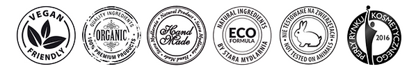 Vegan, Organic, Handmade, Eco, Cruelty free certification of our cosmetics