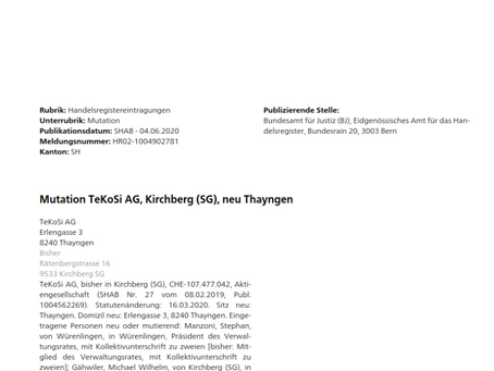 TeKoSi-Sitzverlegung nach Thayngen SH