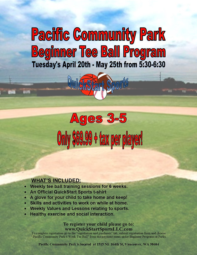Pacific Community Park Toddler Tee Ball.