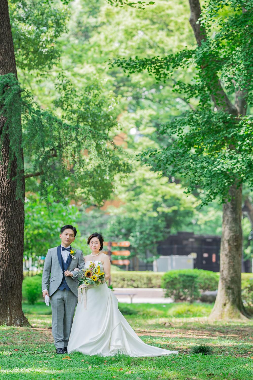 日比谷公園で夏に撮影した結婚式ロケーション写真