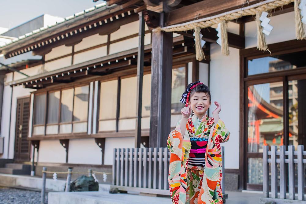 浜松の五社神社で撮影した7歳女の子の七五三写真