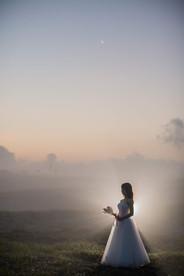 中田島砂丘の朝焼けと撮影した結婚式前撮り写真