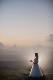 中田島砂丘で朝撮影をした結婚式前撮り写真