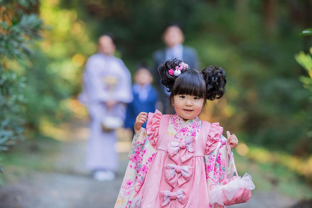 小國神社で撮影した七五三家族写真
