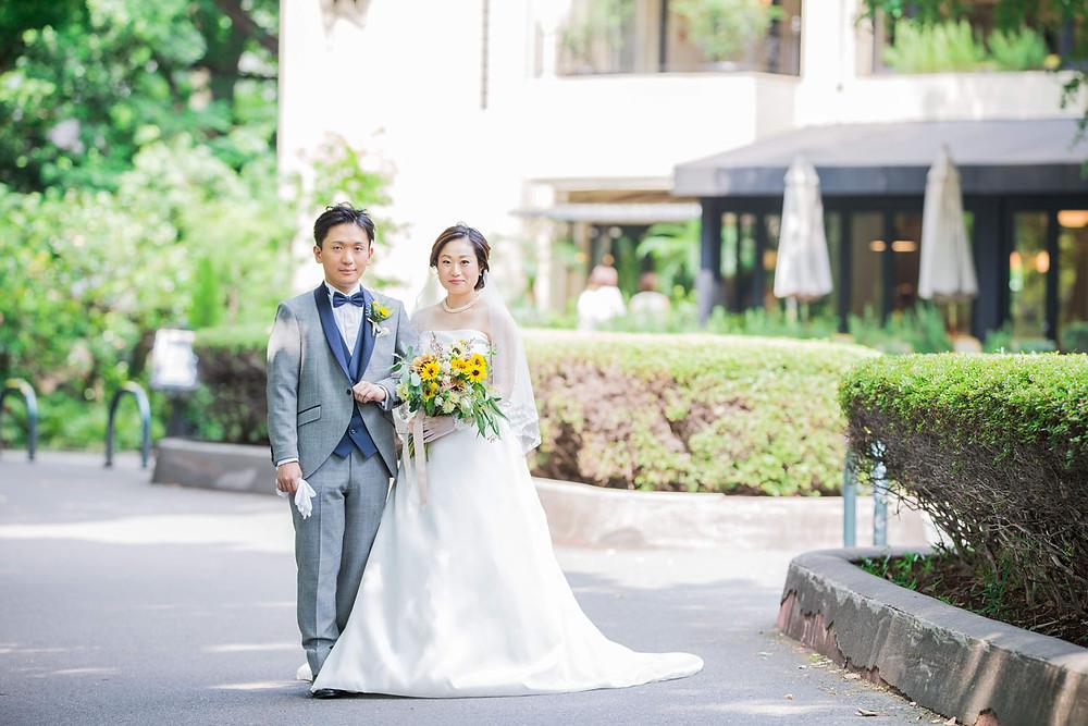 日比谷パレスで結婚式をした新郎新婦のロケーション撮影写真