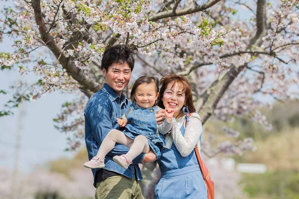 掛川市そよかぜ広場の桜で撮影した家族写真