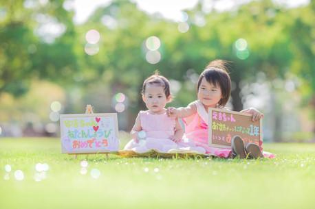 1歳の誕生日記念に浜名湖ガーデンパークで撮影したバースデーフォト