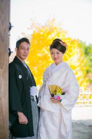浜松城公園で紅葉時期に撮影した和装での結婚式前撮り写真