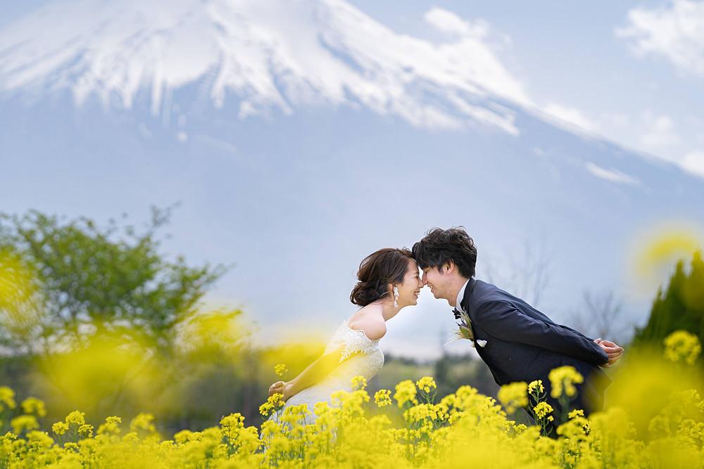 山中湖の花の都公園で浜松の出張カメラマンが撮影した菜の花畑での前撮り