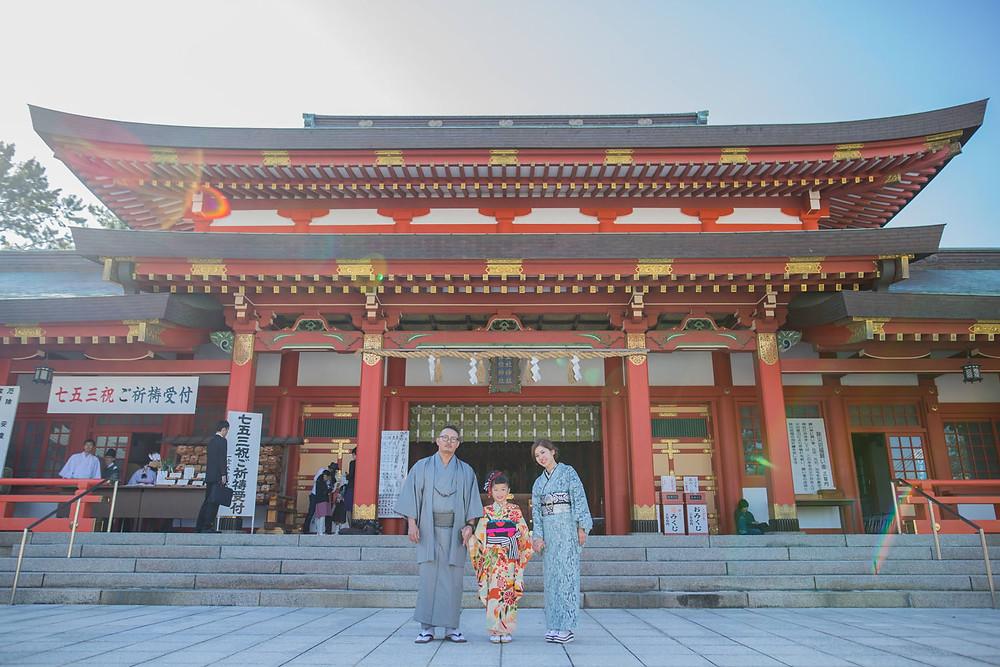 静岡県浜松市にある五社神社にて七五三詣りをした7歳女の子の七五三写真
