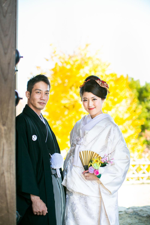 浜松城公園で撮影した和装での結婚式前撮り写真
