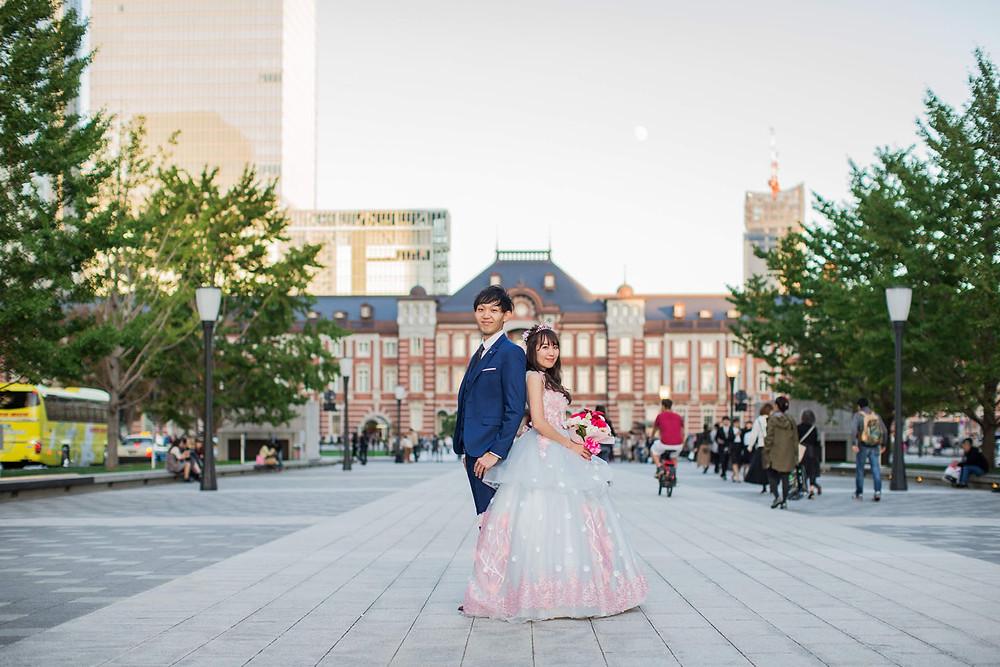 東京駅の丸の内で撮影した結婚式前撮りロケーションフォト