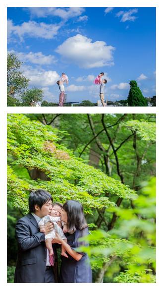 青空ロケーションフォトとお宮参りの写真