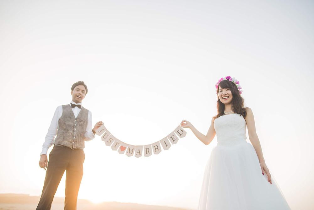 浜松市の中田島砂丘で撮影した結婚式前撮り写真