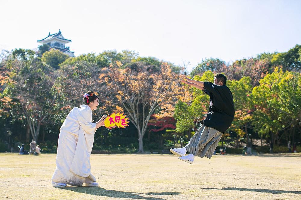 浜松城公園で撮影した白無垢での結婚式前撮り写真