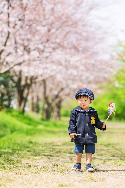 浜松市の東大山の桜で撮影した入園記念写真