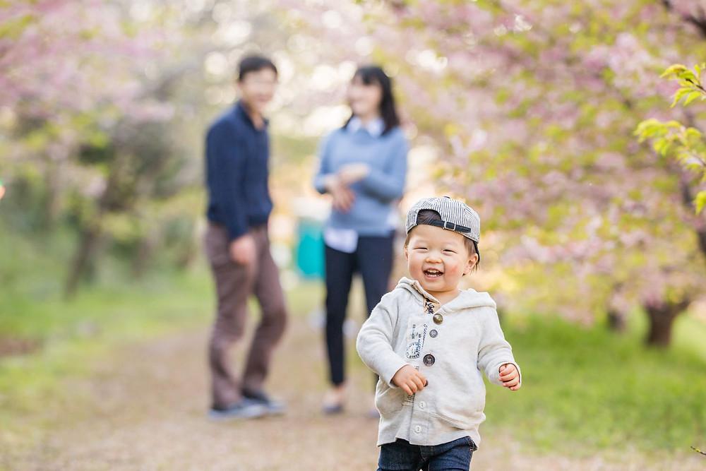 浜松市東大山の河津桜で撮影したファミリーフォト