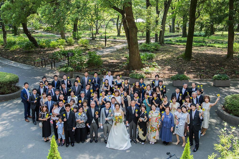 日比谷パレスの結婚式で撮影した集合写真