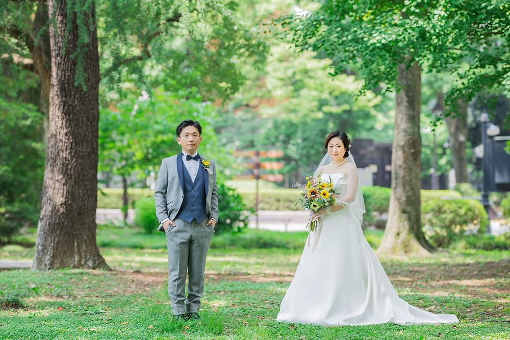 日比谷パレスで結婚式をした新郎新婦の日比谷公園でのロケーション撮影写真