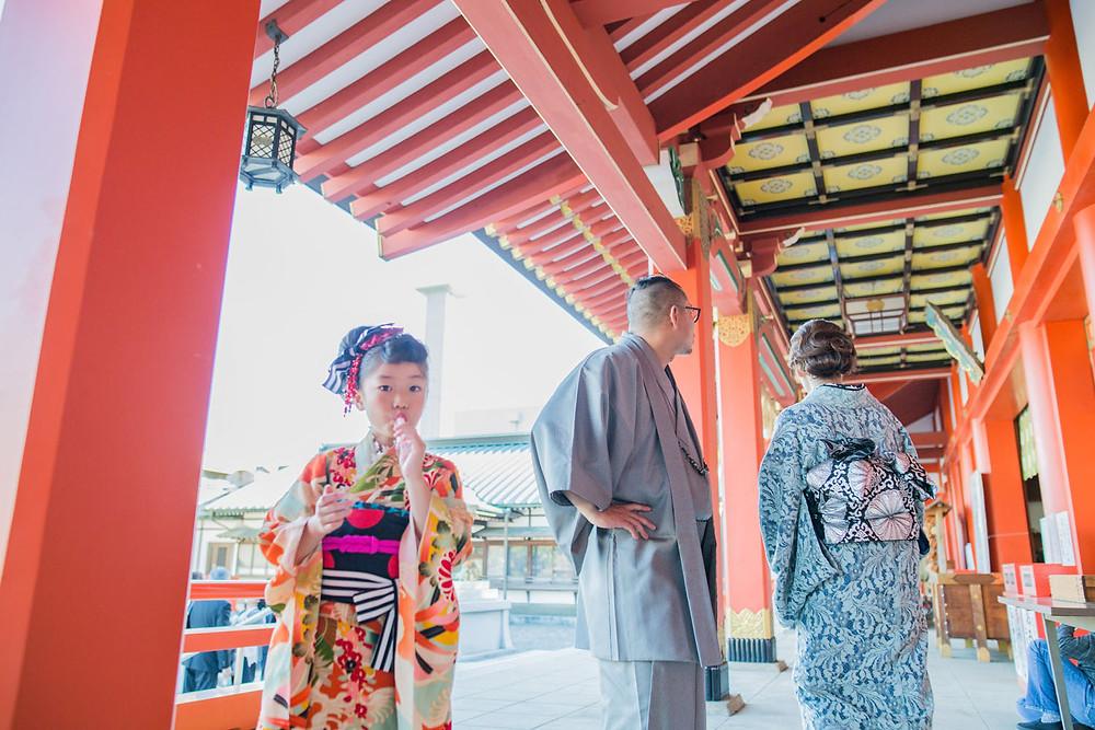 五社神社で撮影した7歳女の子の七五三写真