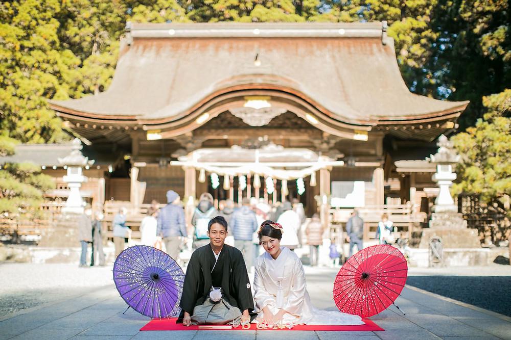 小國神社での結婚式前撮り写真