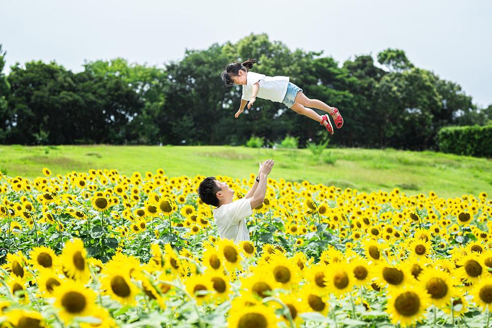 ひまわり畑で浜松のカメラマンが撮影した夏のロケーションフォト