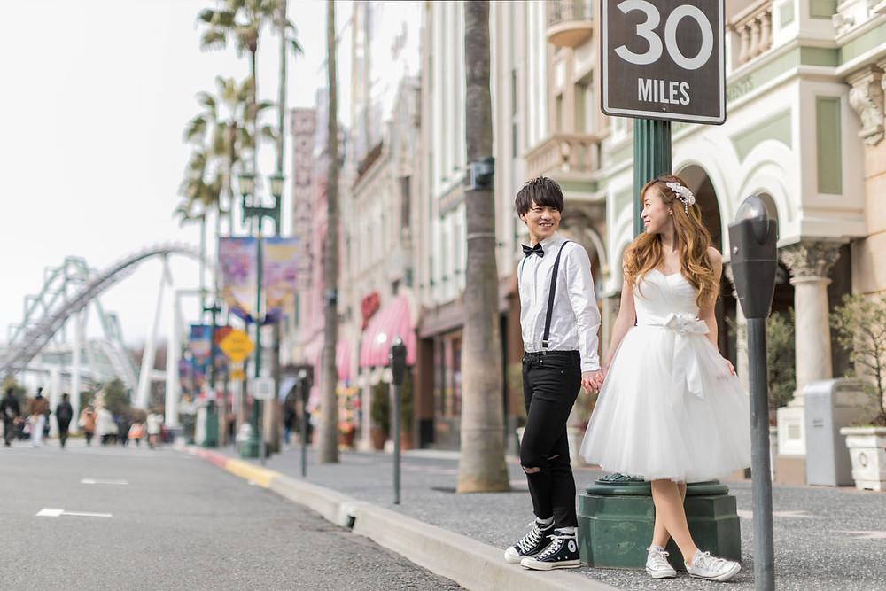 USJのハリウッドエリアで結婚式前撮り撮影